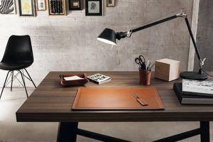 Ascanio 4pz, Desk accessories set, in regenerated leather
