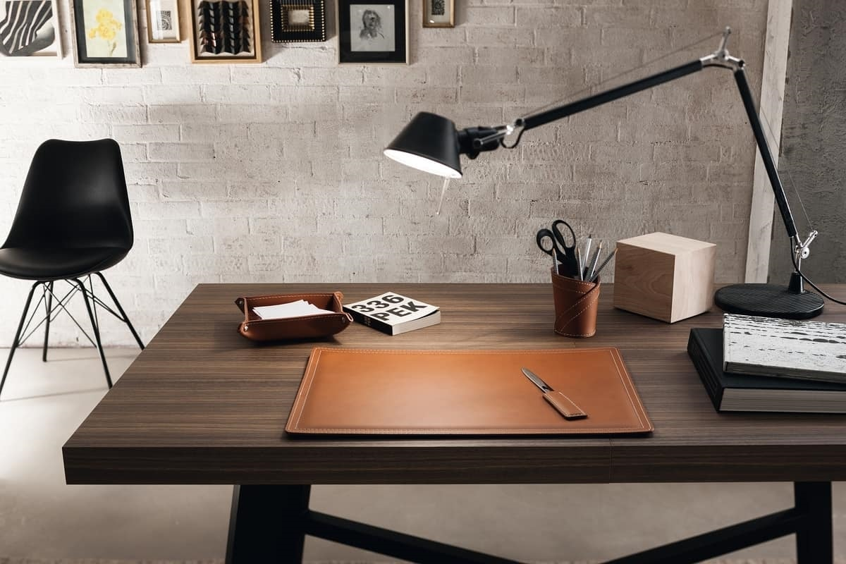 Ascanio 4pz, Desk accessories set, in regenerated leather