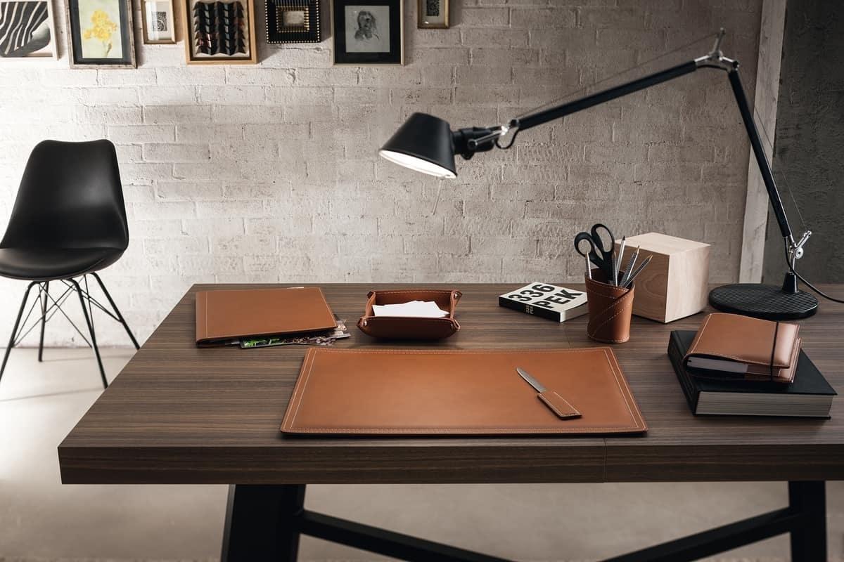 Ascanio 6pz, Desk pad, pen holder, paper knife for desk
