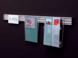 Desk up message displays, Exhibitor in transparent acrylic on aluminum bars