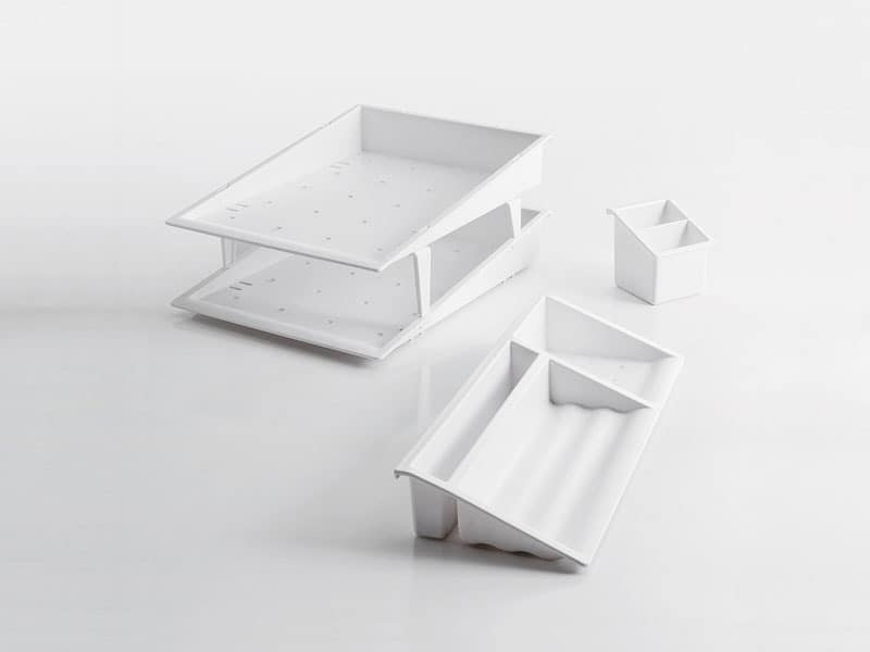 Desk up white, Desk accessories in polymer
