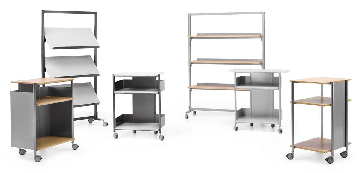 MULTIKOM 3006, Trolley on wheels in metal and laminate, for office