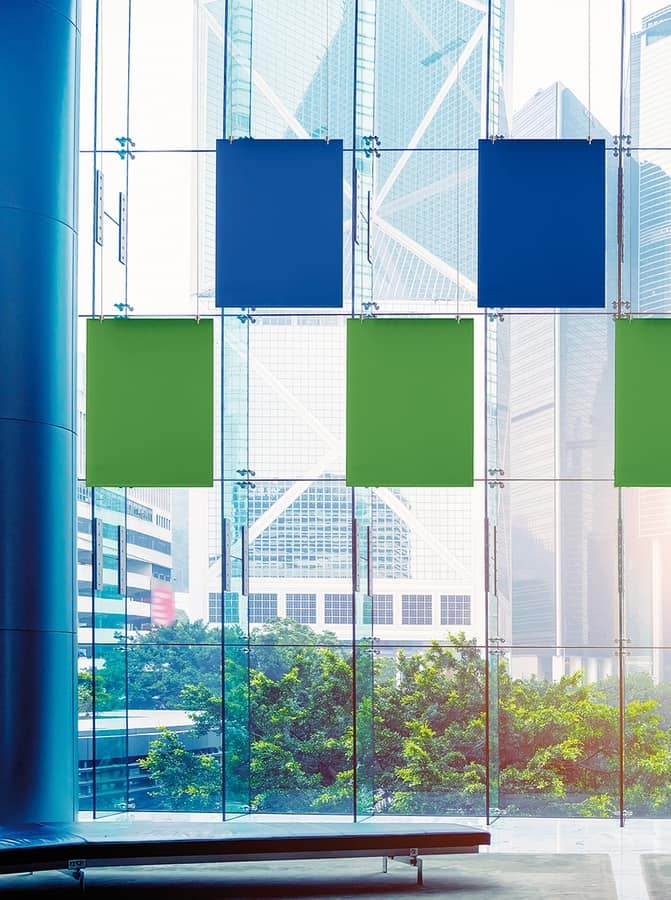 Baffle Oversize, Patented system for suspending sound absorbing panels
