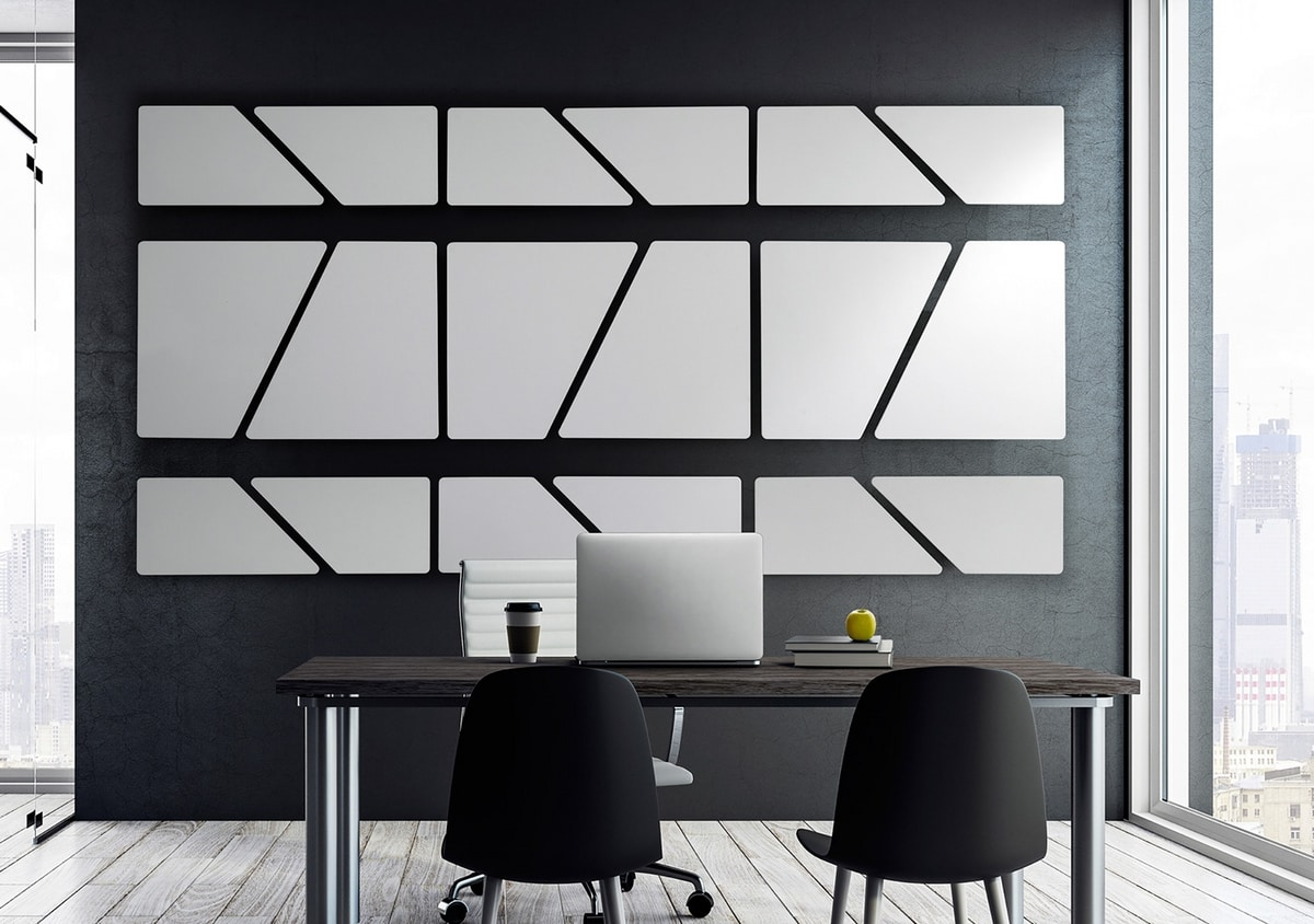 Flat, Modular sound-absorbing panels with a perfectly flat surface