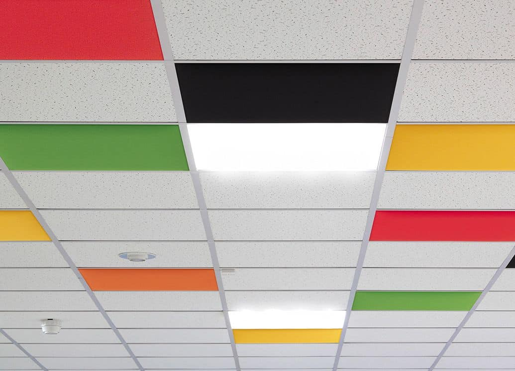 In, Colored acoustic panels for suspended ceiling