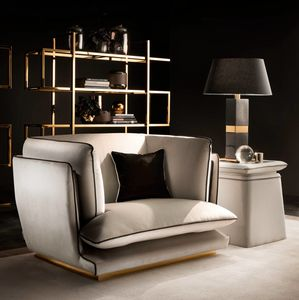 ALLURE armchair, Armchair with polished metal base