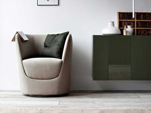 Oplà armchair, Design tulip-shaped armchair, swivel base