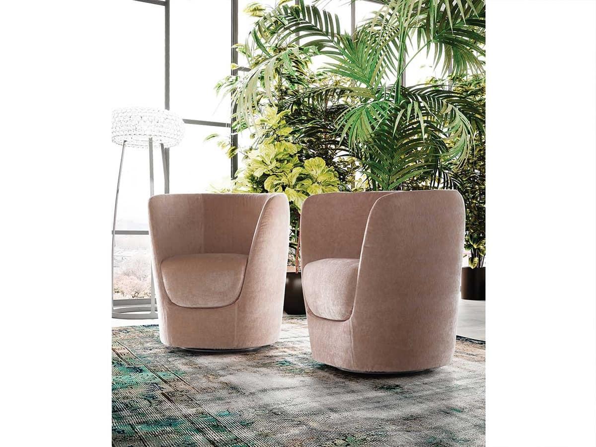 Oplà armchair, Design tulip-shaped armchair, swivel base
