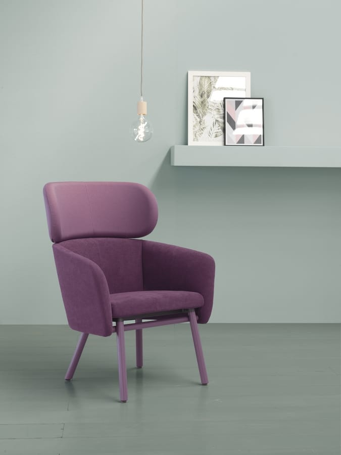 ART. 0051 BALÙ XL, Wooden armchair, covering in different colors