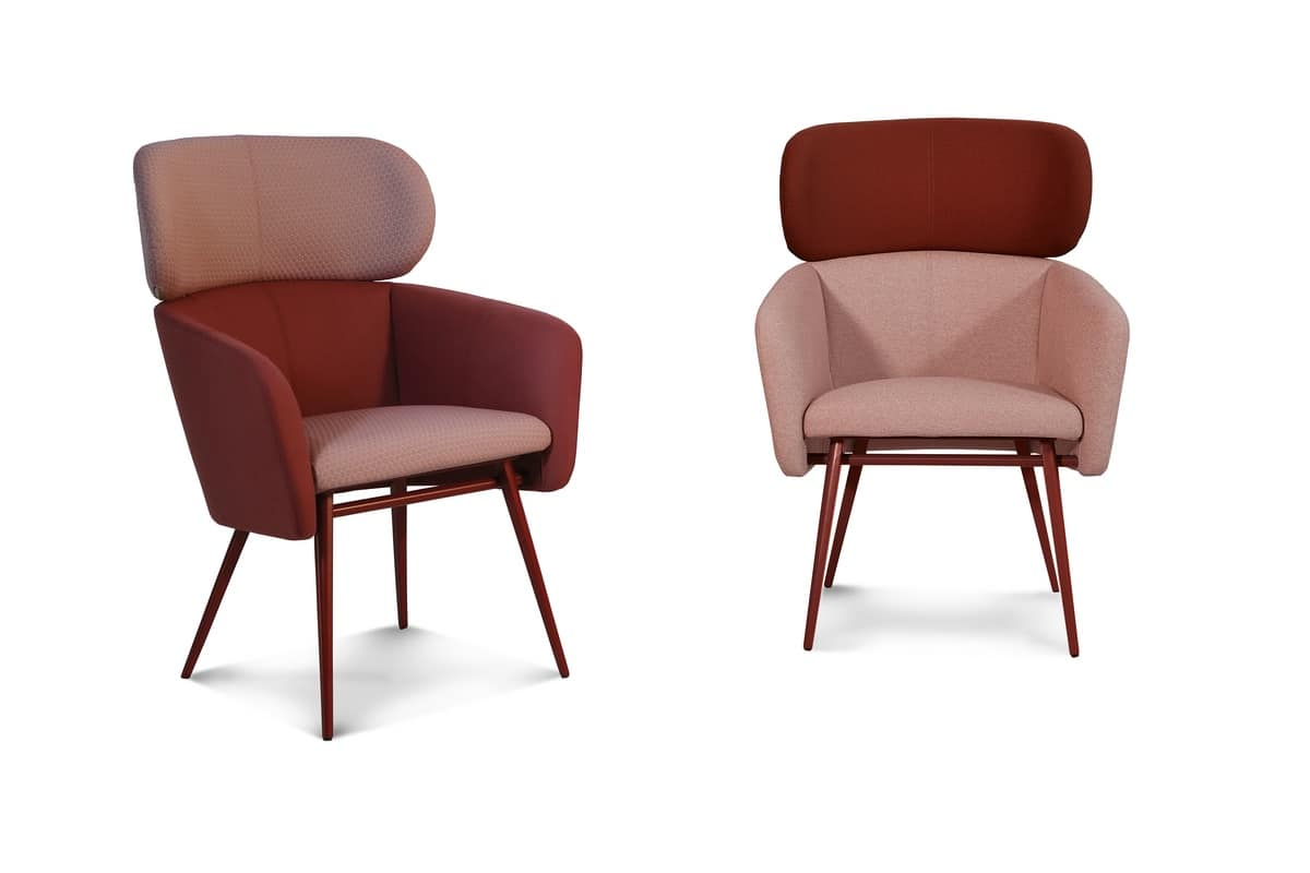 ART. 0053 BALÙ XL Met, Armchair with metal base, for waiting areas