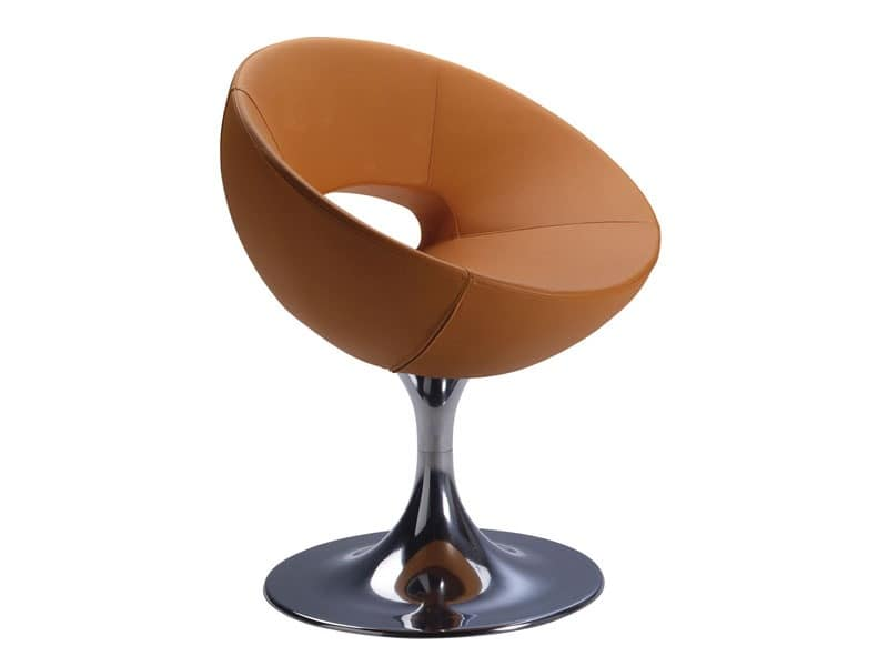 Barby/ba, Upholstered armchair with inner column made of steel