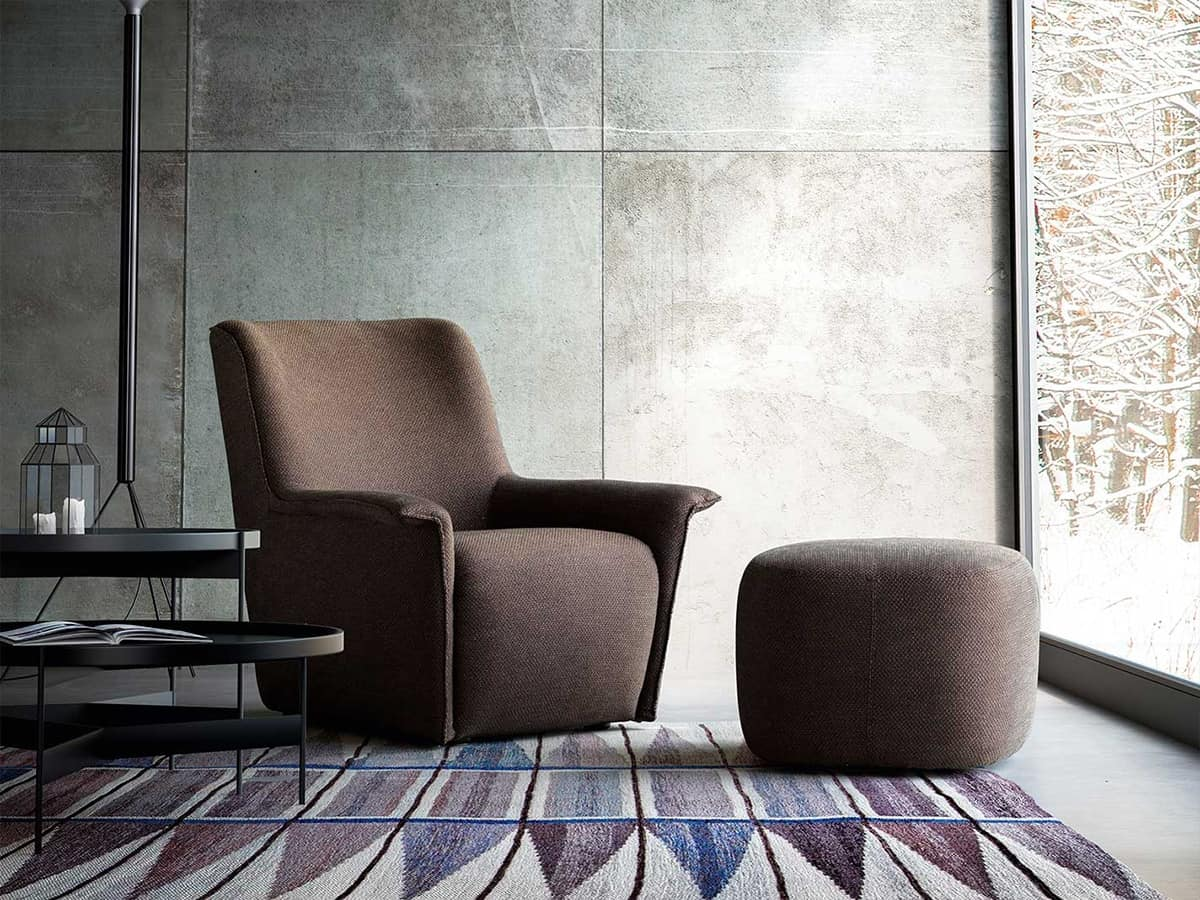 Dialogo, Modern armchair, in leather or fabric