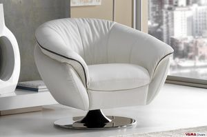 Golden, Swivel armchair with flat support in polished chrome-plated steel