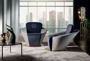 Leila, Armchair with rounded shapes