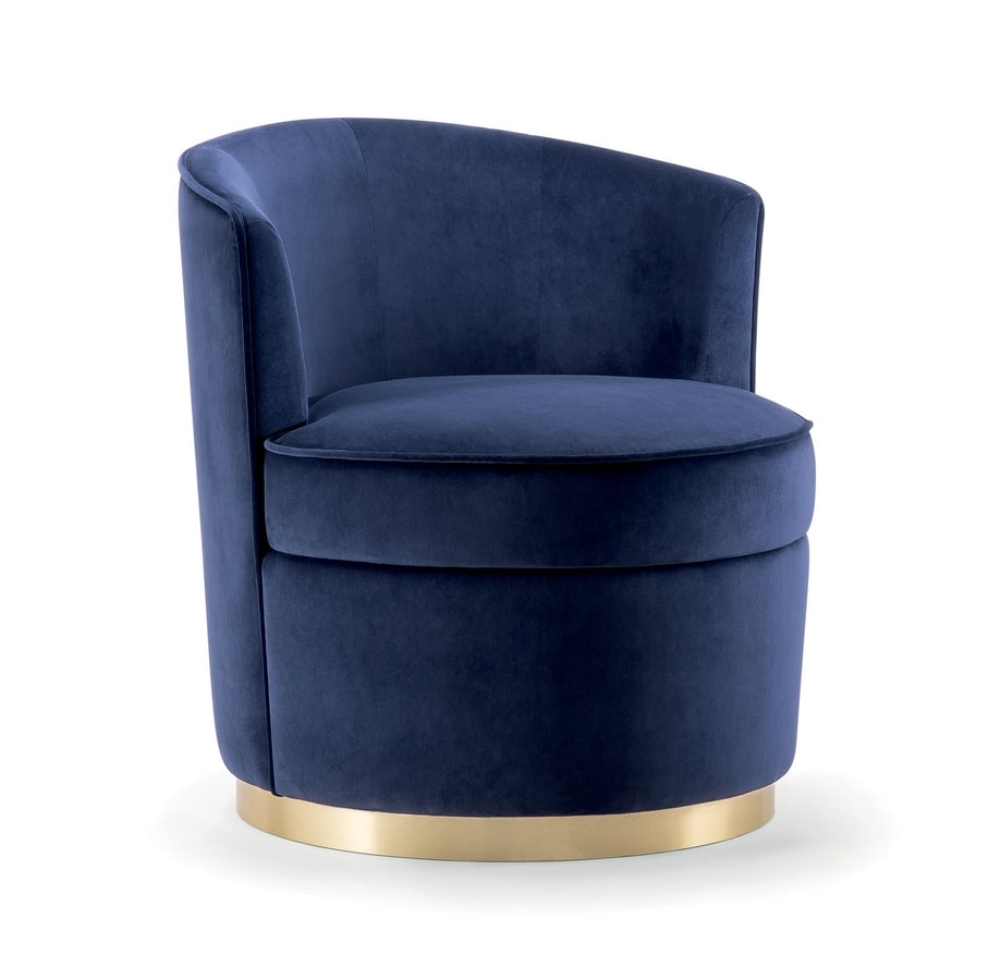 LILIAN LOUNGE CHAIR 072 P G, Rounded swivel armchair