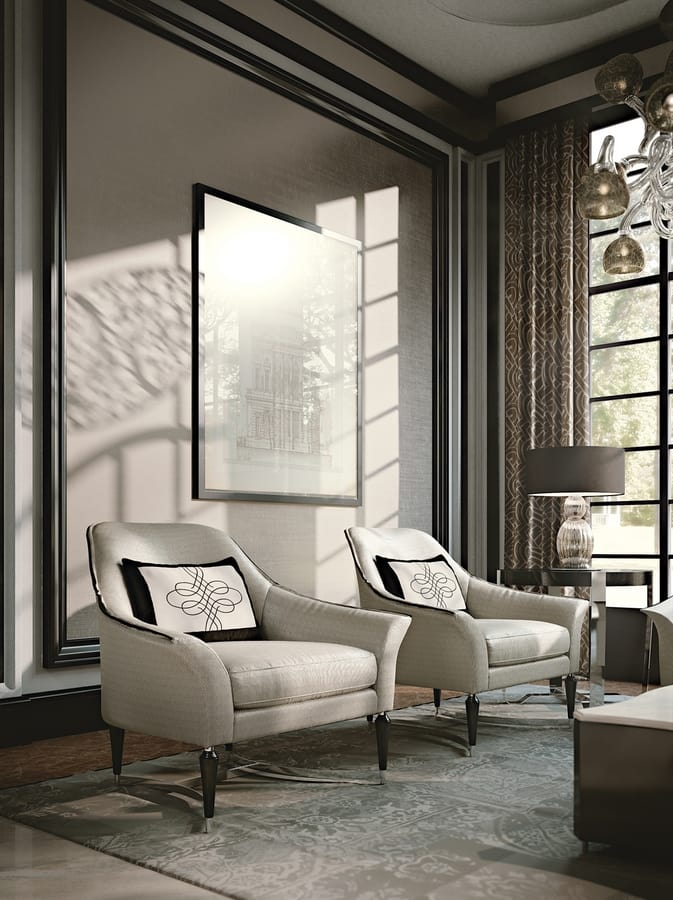 PALAIS-ROYAL Armchair, Luxury armchair with chrome legs