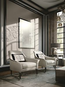 PALAIS-ROYAL Armchair, Luxury armchair with chrome legs