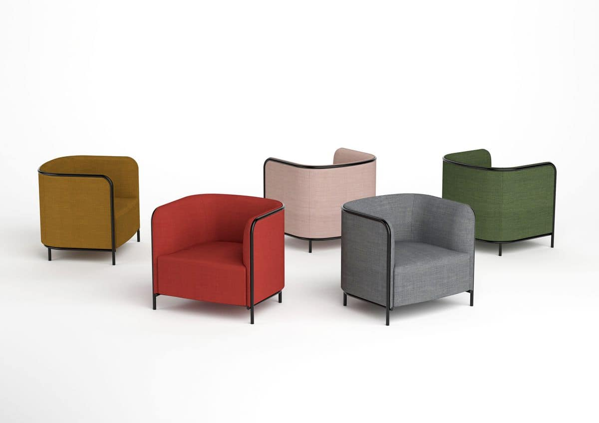 Place armchair, Armchair covered in faux leather, metal frame