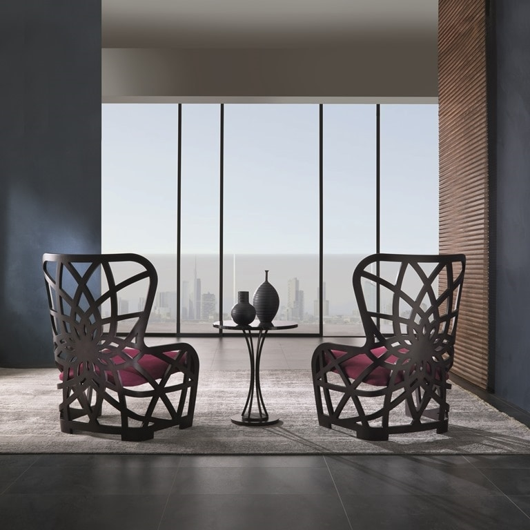 PO70 Galileo armchair, Armchair in oak with high back
