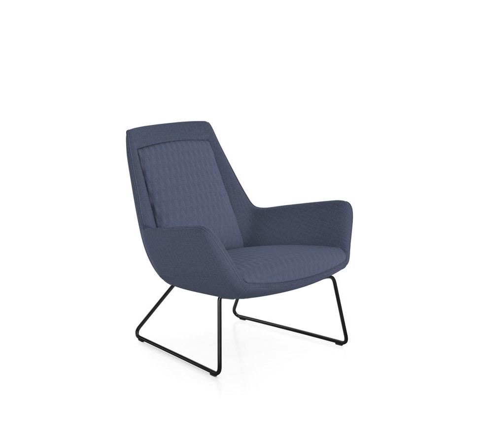 Roxy armchair, Swivel armchair with metal base
