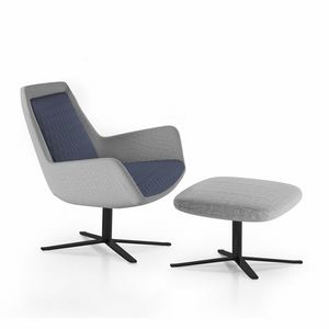 Roxy armchair, Swivel armchair with metal base