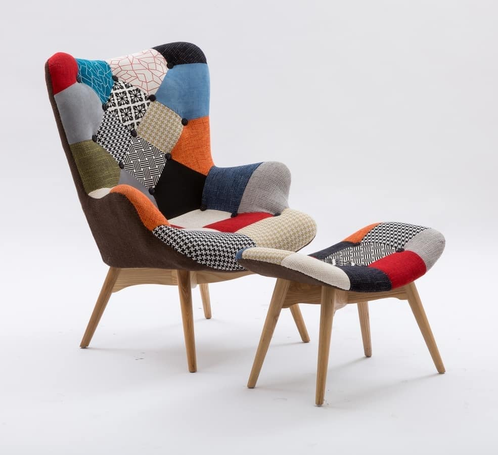 Art. 420 Sweethome, Padded armchair with wooden base, patchwork upholstery