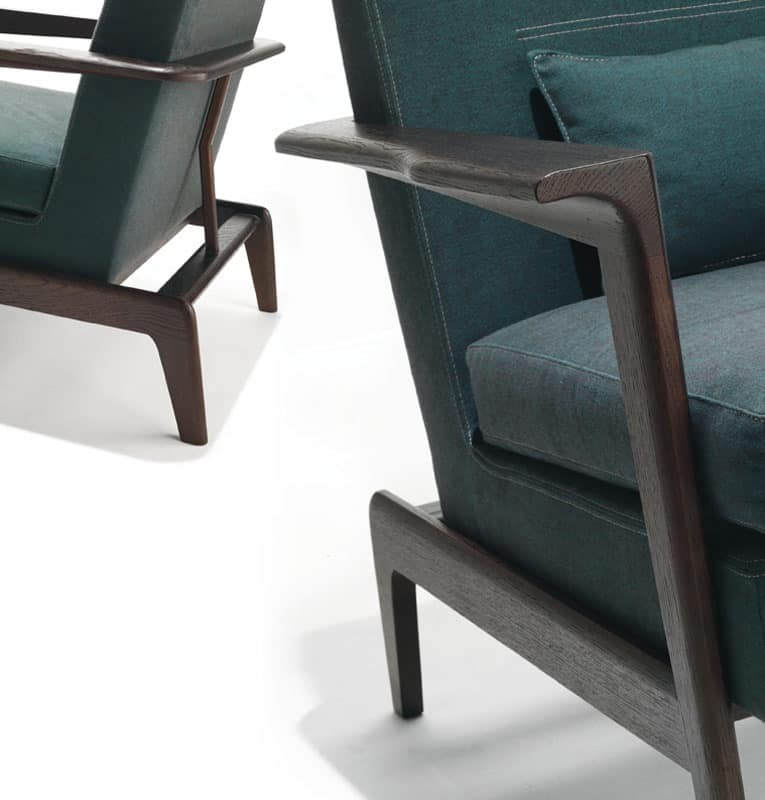 Fred, Linear armchair with wooden armrests, removable covering