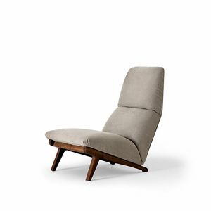 Lisbeth, Armchair design, car 50s style, walnut base