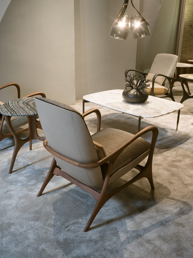 REA armchair GEA Collection, Contemporary armchair in canaletto walnut or ashwood