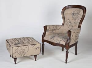 Art. 587, Padded classic armchair with wooden frame