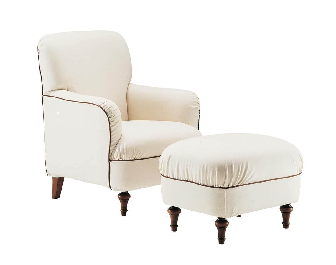 Violetta, Comfortable armchair with pouf, classical style