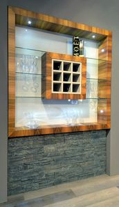 N�scira 103, Walnut wine cabinet, with glass tops