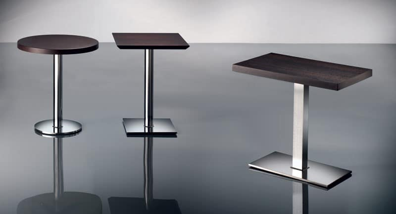ART. 400/CR, Square coffee table, chrome base, for bars and pubs