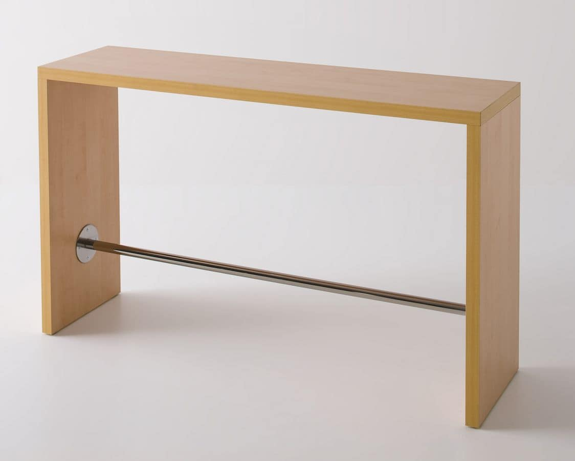 Break, High laminate table with footrests, design