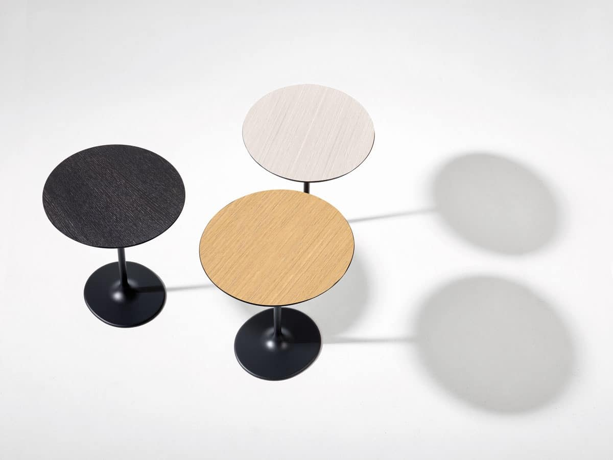 New materials to top Dizzie, Round coffee bar, top in laminated wood, minimalist style
