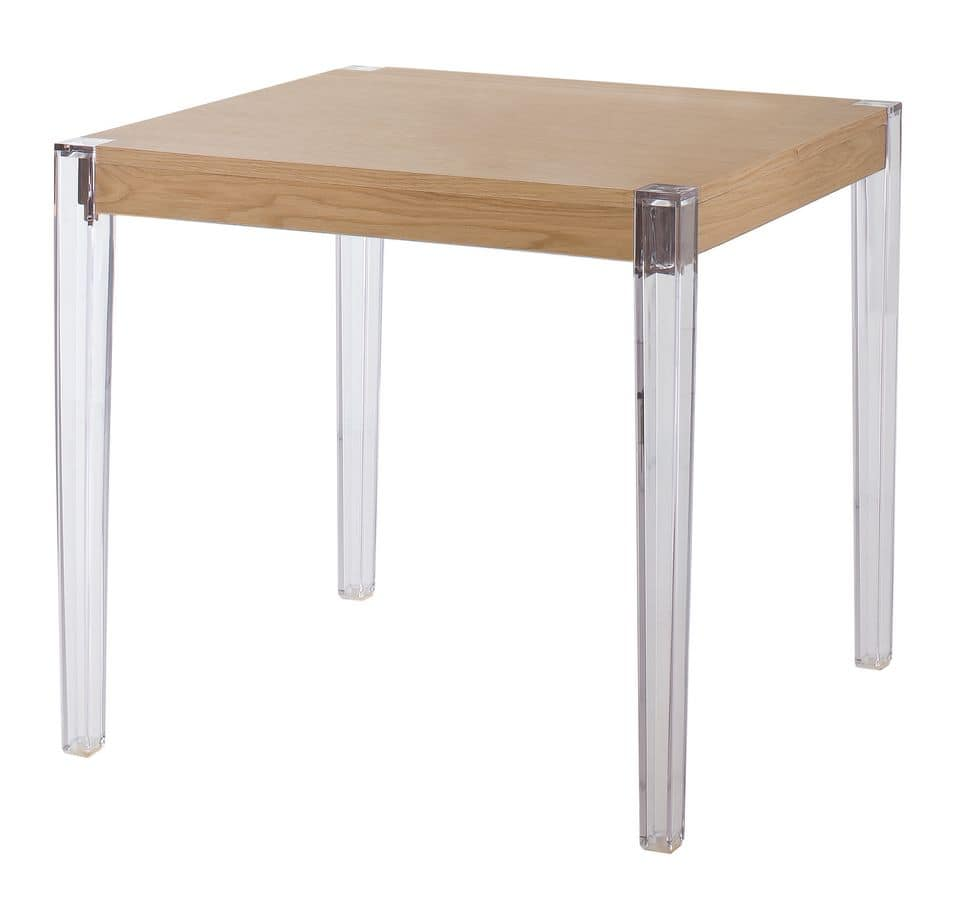 Together, Table with polycarbonate legs, wooden top