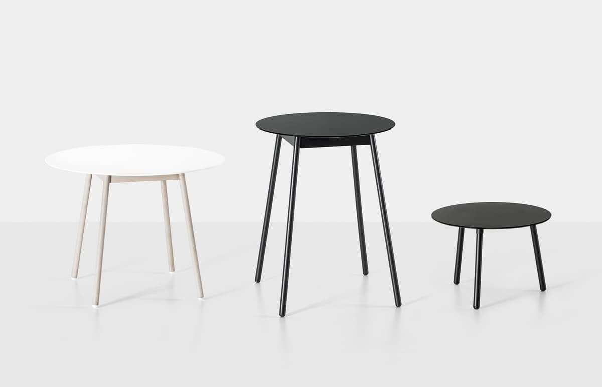 BCN, Bar table with laminate and wooden legs top