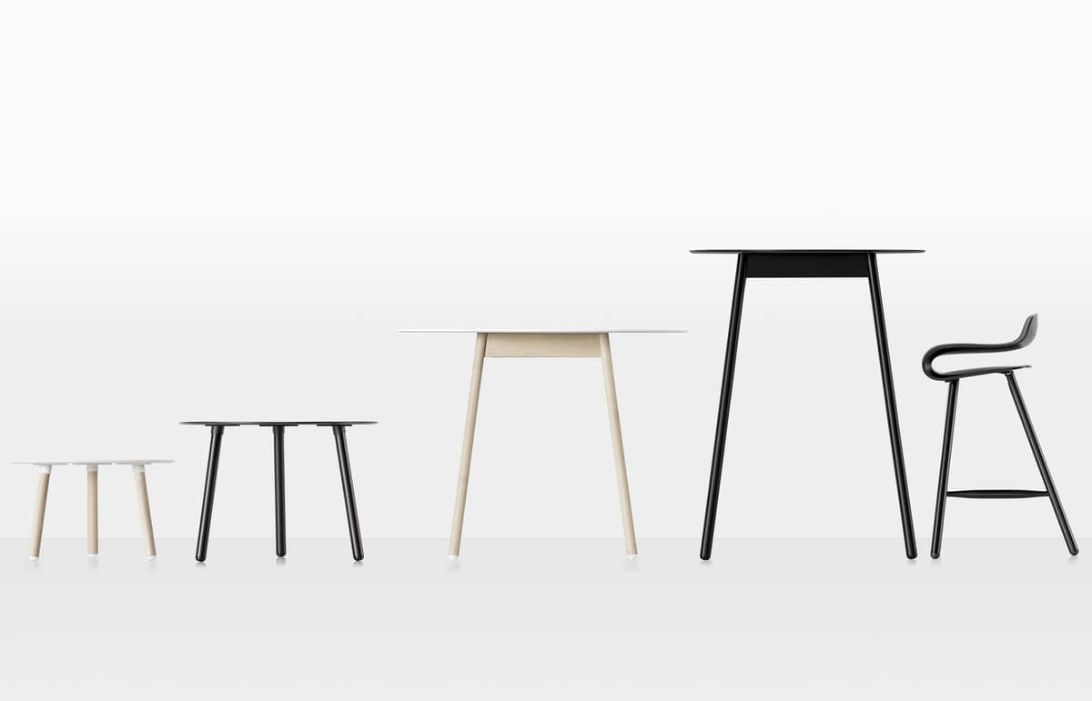 BCN High, High table for bar with laminate top and wooden legs