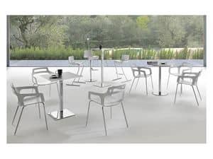 Bistrot, High table in chromed steel, resistant, for modern bars