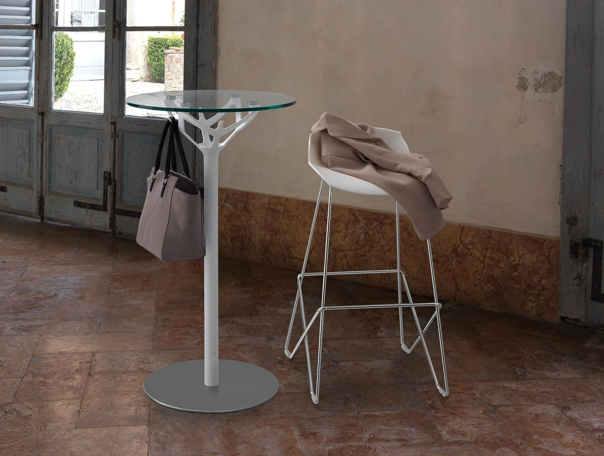 Cicerone, Small round table in chromed steel and glass