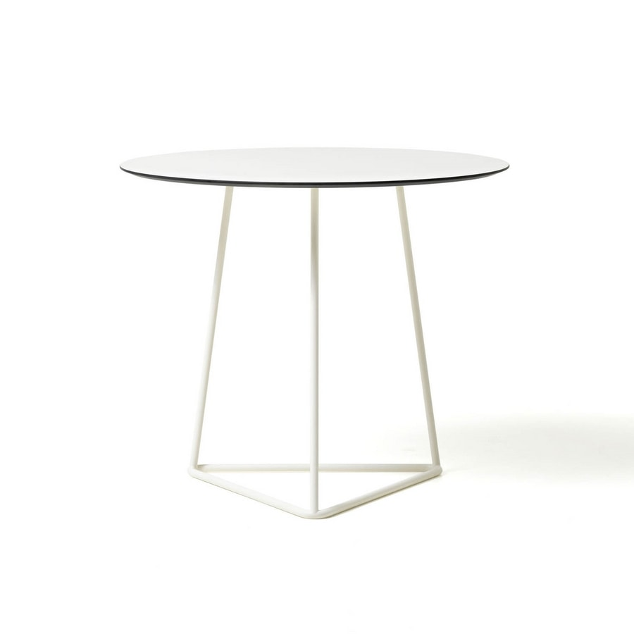 Circuit coffee table, Coffee table in painted metal, top in laminate