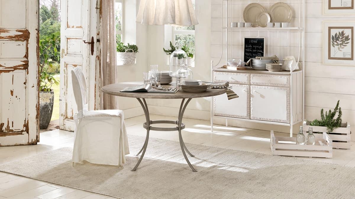 Prado bar table, Bar table with iron base, transparent glass top
