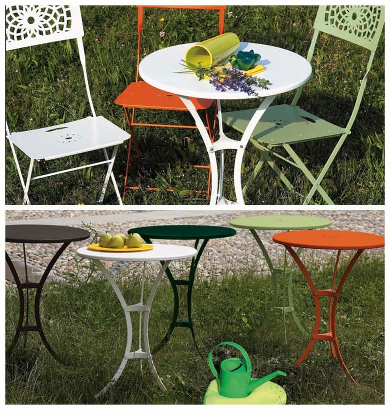 Raffaello table, Metal coffee table with round top, for outdoors