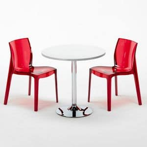 Set chairs and stackable table - SET2SGHOST, Round table with transparent chairs, for bars and hotels