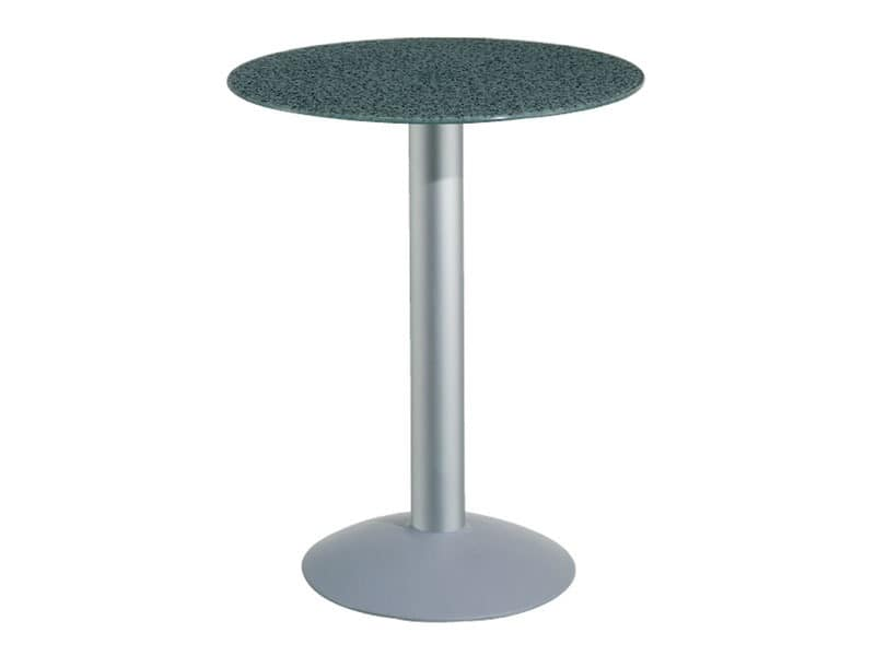 Table Ø 72 cod. 03/BTV, Table with tempered glass top, aluminum column
