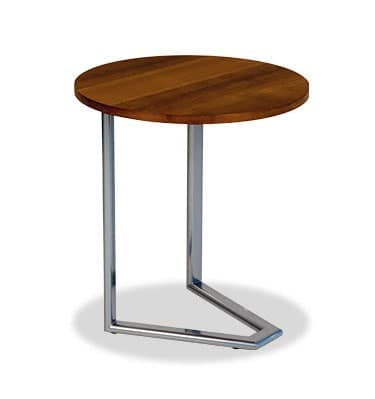 Small Round Table In Wood And Painted Steel Idfdesign