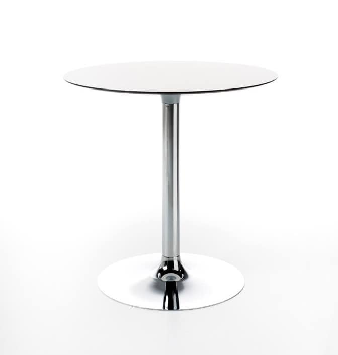 Welcome, Table with round top in HPL, in two heights