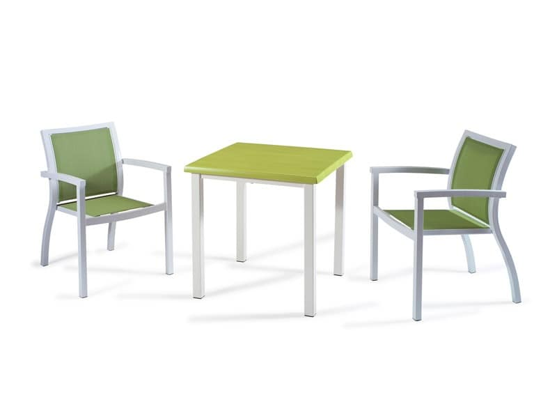 FT 038, Modern coffee table for bars, in brushed aluminum