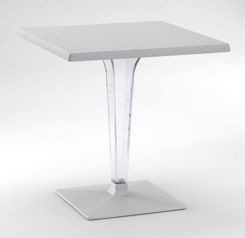 FT 718, Table with base and top in aluminum, polycarbonate column