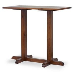 High Tower Bar Table 2, Bar table with two columns, entirely in pine